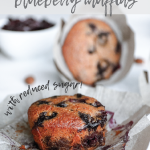 blueberry muffins with bowl of frozen blueberries