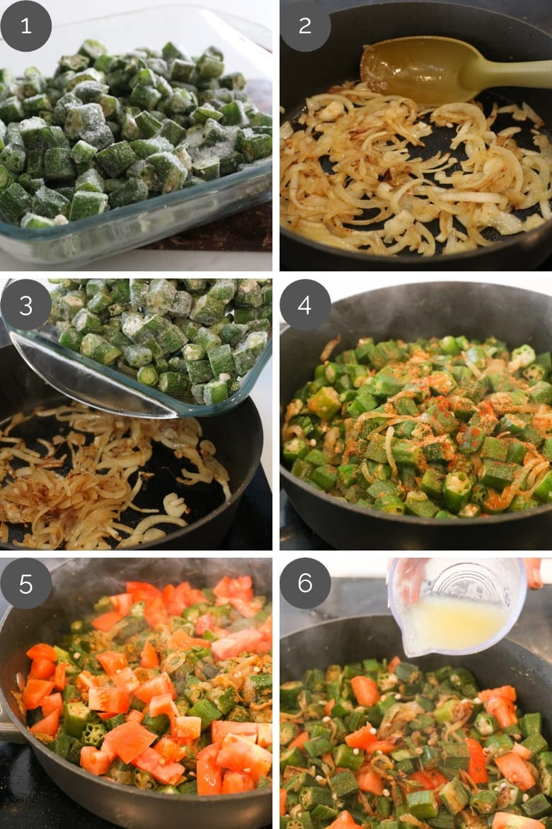 prep shots showing how to make spicy okra recipe