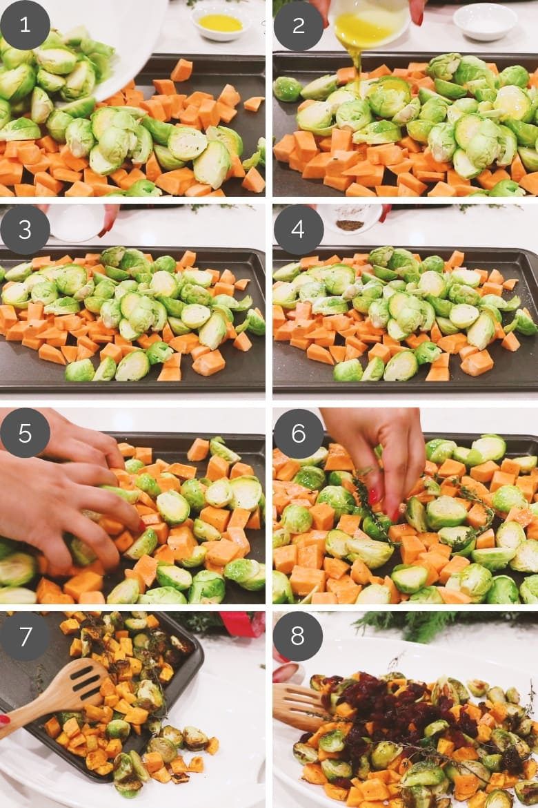 prep shots showing how to make Roasted Brussels Sprouts With Sweet Potatoes And Cranberries