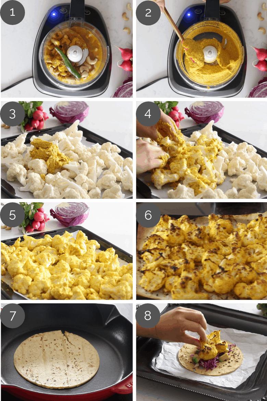 Step by step preparation shots of Tandoori Cauliflower Tacos