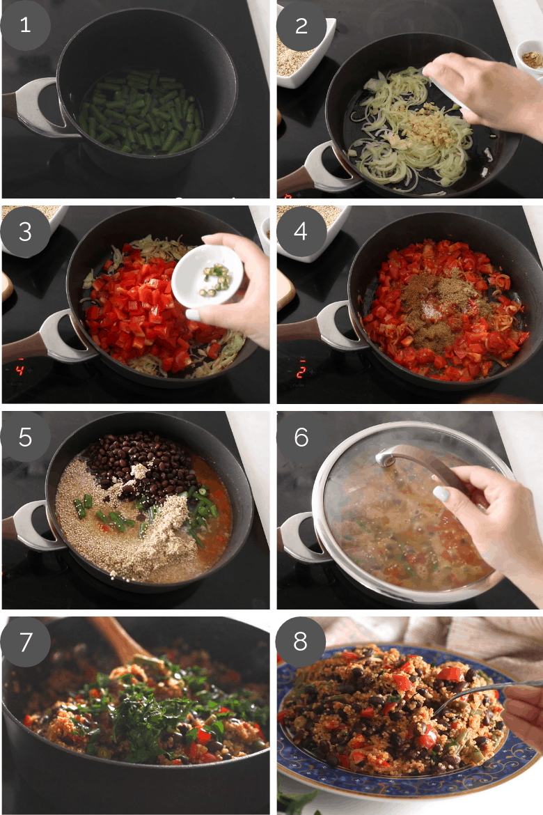 Step by step prep shots of how to make vegetarian quinoa pilau