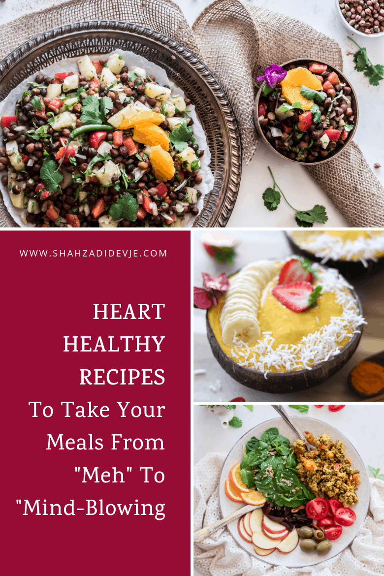 3 heart healthy recipes showing chickpea salad on a tray, pineapple mango smoothie bowl and scrambled eggs with salad on a plate
