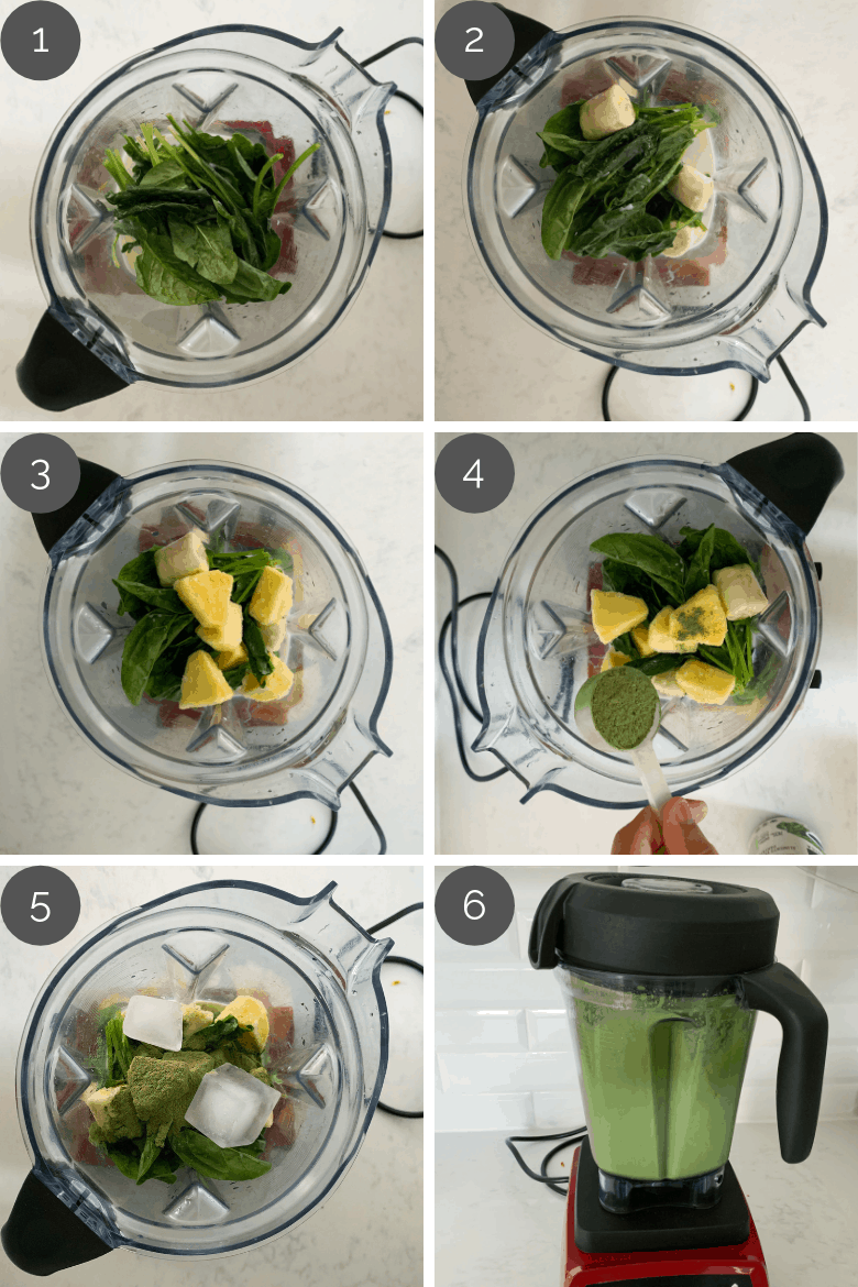 step by step preparation photographs of how to make green smoothie recipe