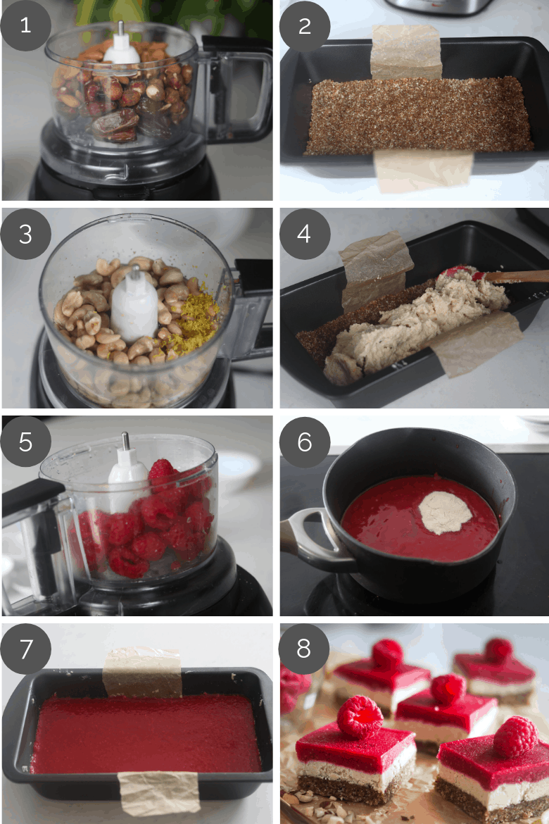 Step by step preparation shots of how to make raspberry vegan bars