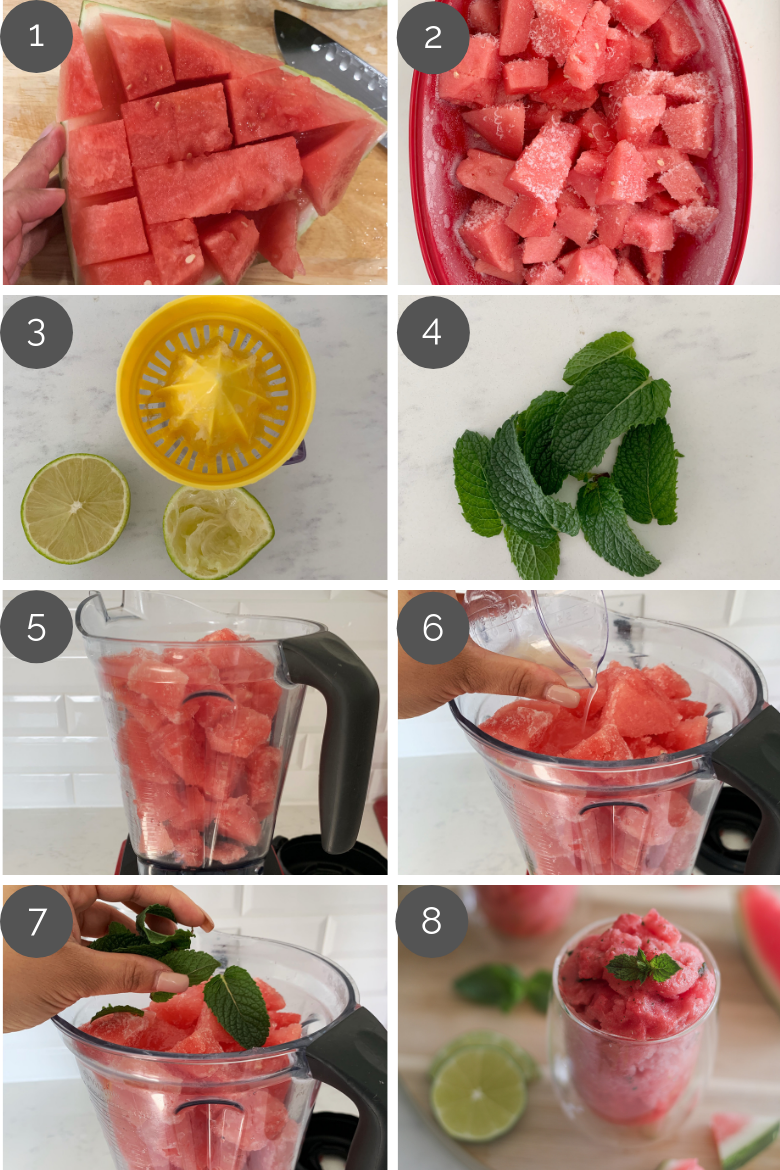step by step preparation images of how to make watermelon slushie