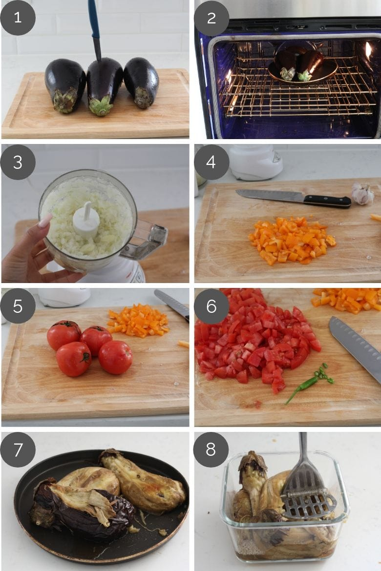 step by step preparation images of how to make baingan bharta