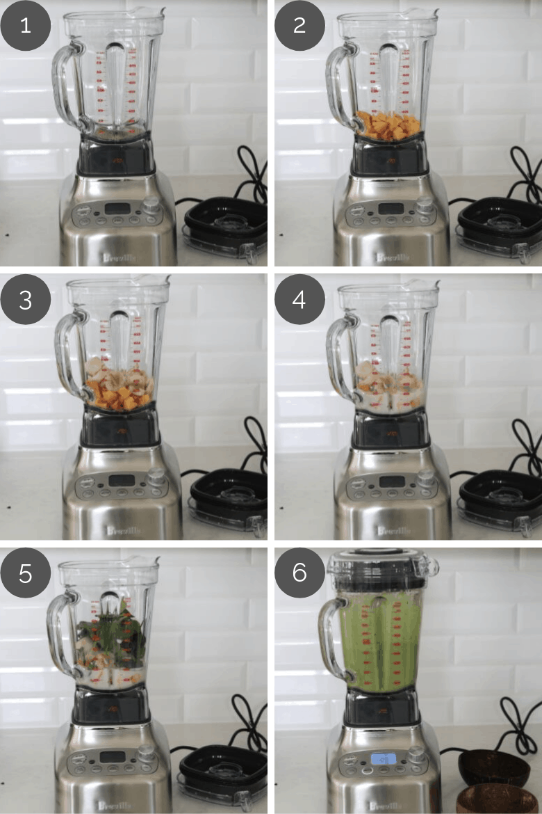 preparation images of healthy green smoothie recipe being made in a blender