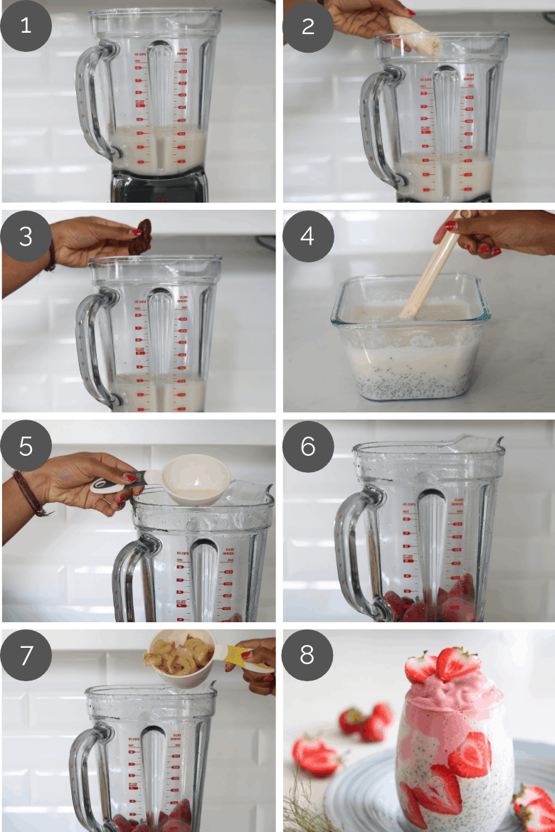 how to make vegan chia pudding with step by preparation images