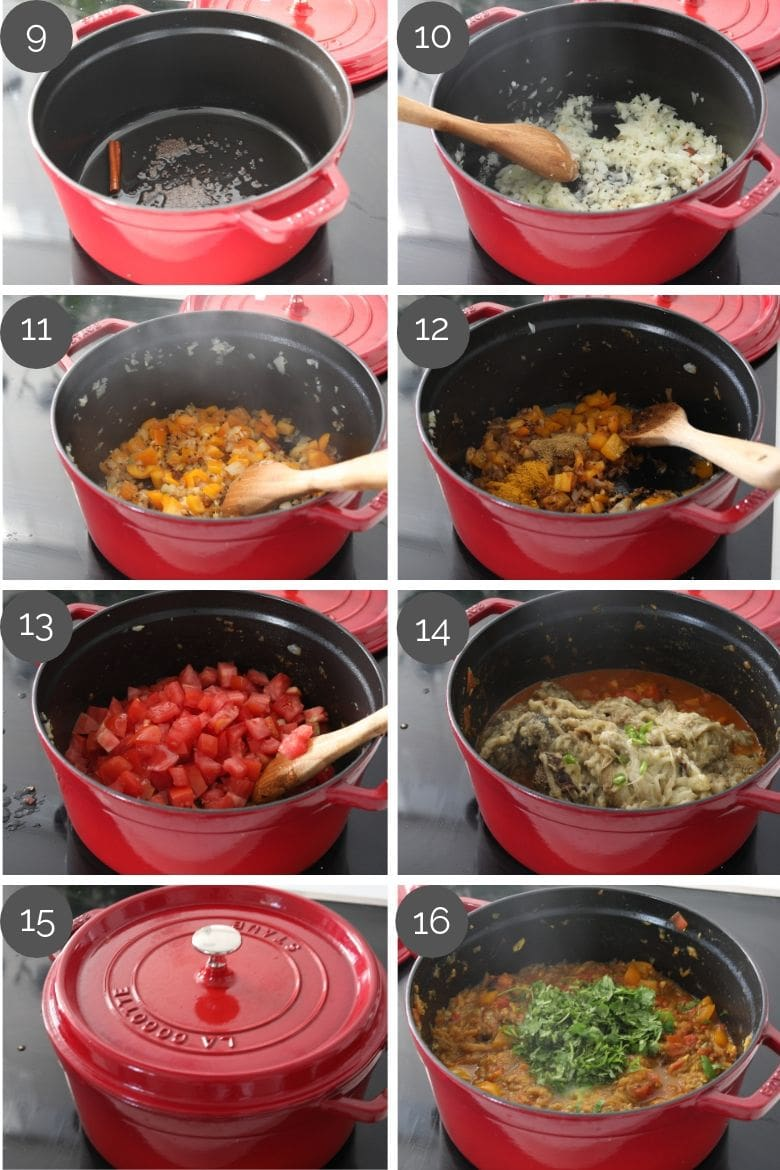 step by step cooking images of how to make baingan bharta in a red cooking pot on the stove top