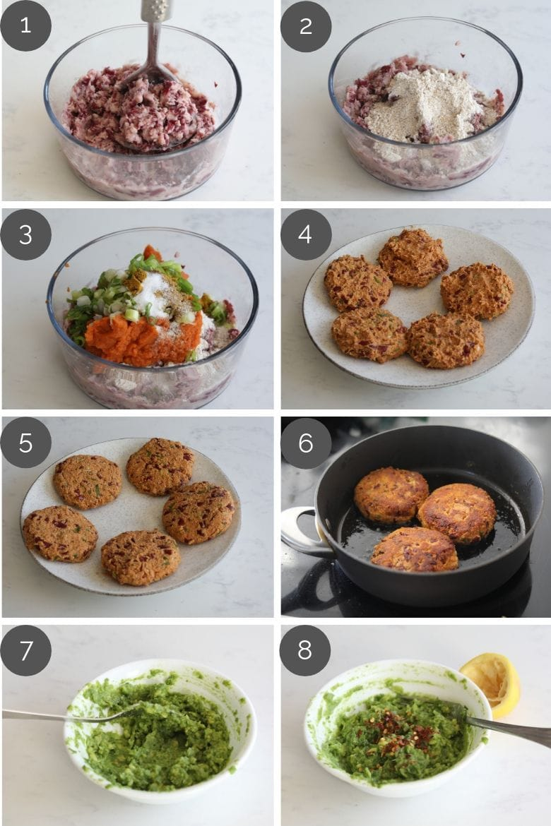 Step by step preparation images of how to make desi pumpkin bean burgers