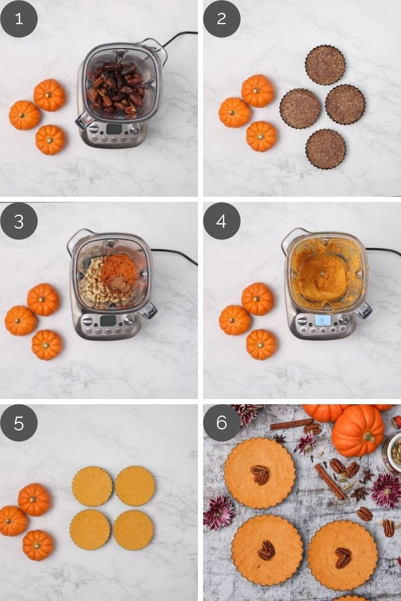 step by step preparation photos of how to make homemade pumpkin pies in a blender