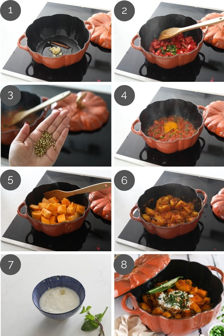 step by step preparation images of how to make pumpkin curry
