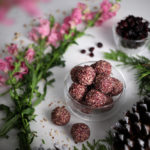 bowl filled with cranberry energy bites with pink flowers and dried cranberries in the background