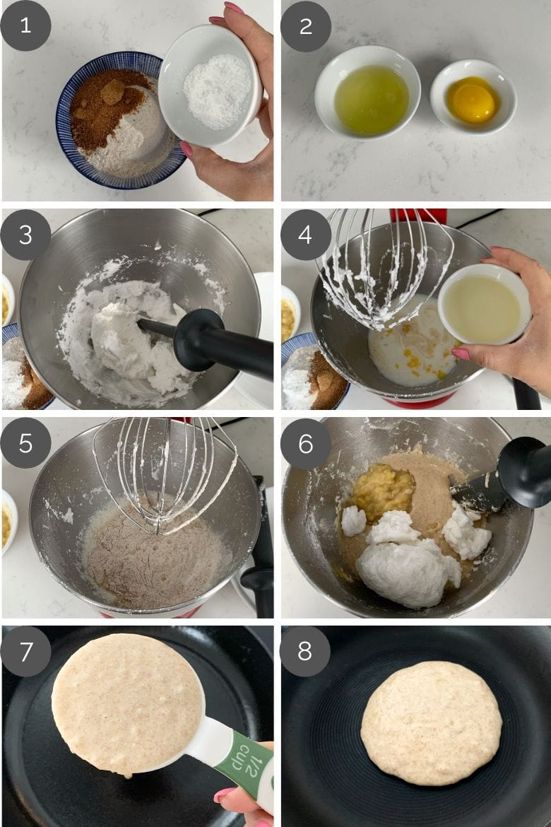 step by step preparation shots of how to make fluffy pancakes recipe in a mixer