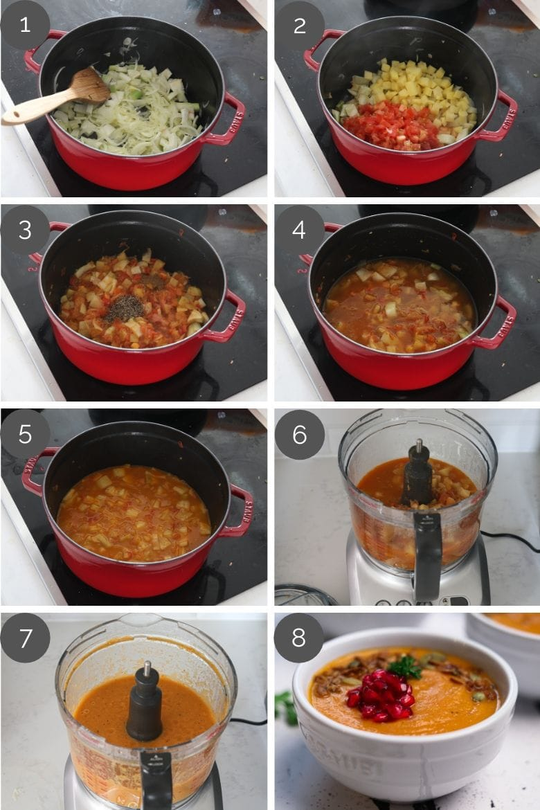 step by step preparation images of how to make an easy tomato soup recipe in a cooking pot and food processor