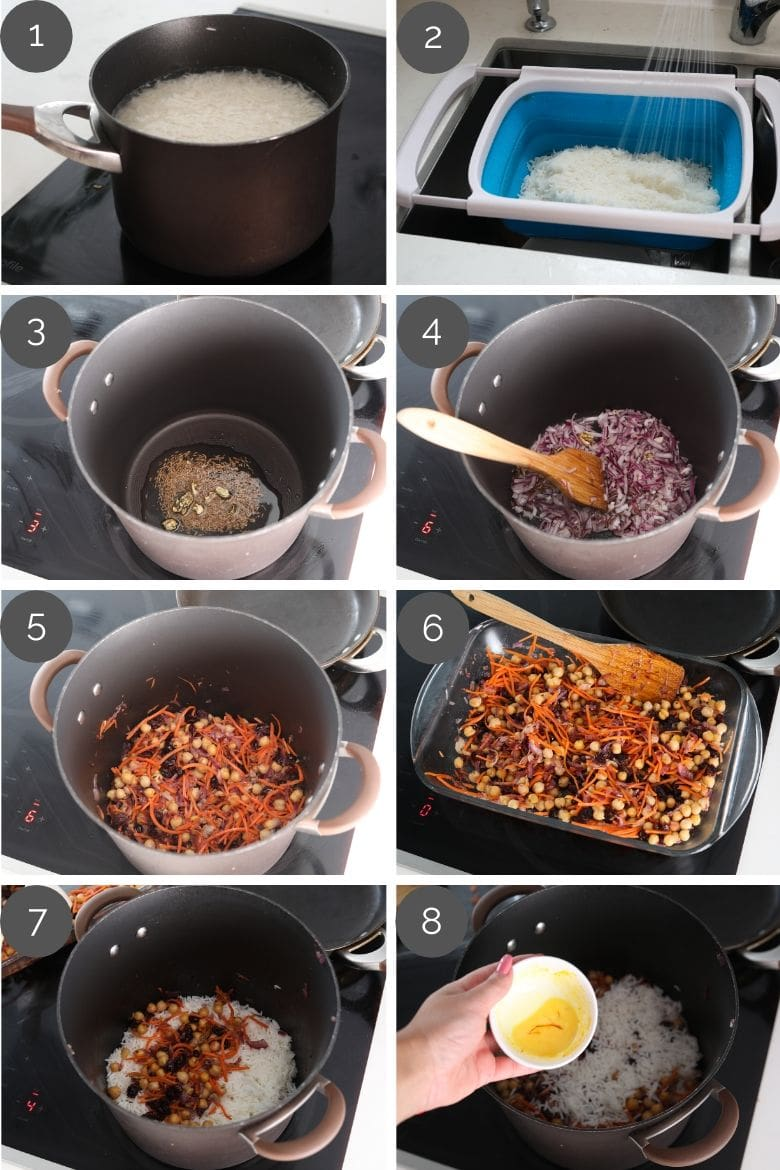 Step by step preparation images of how to make Persian rice on a stove top
