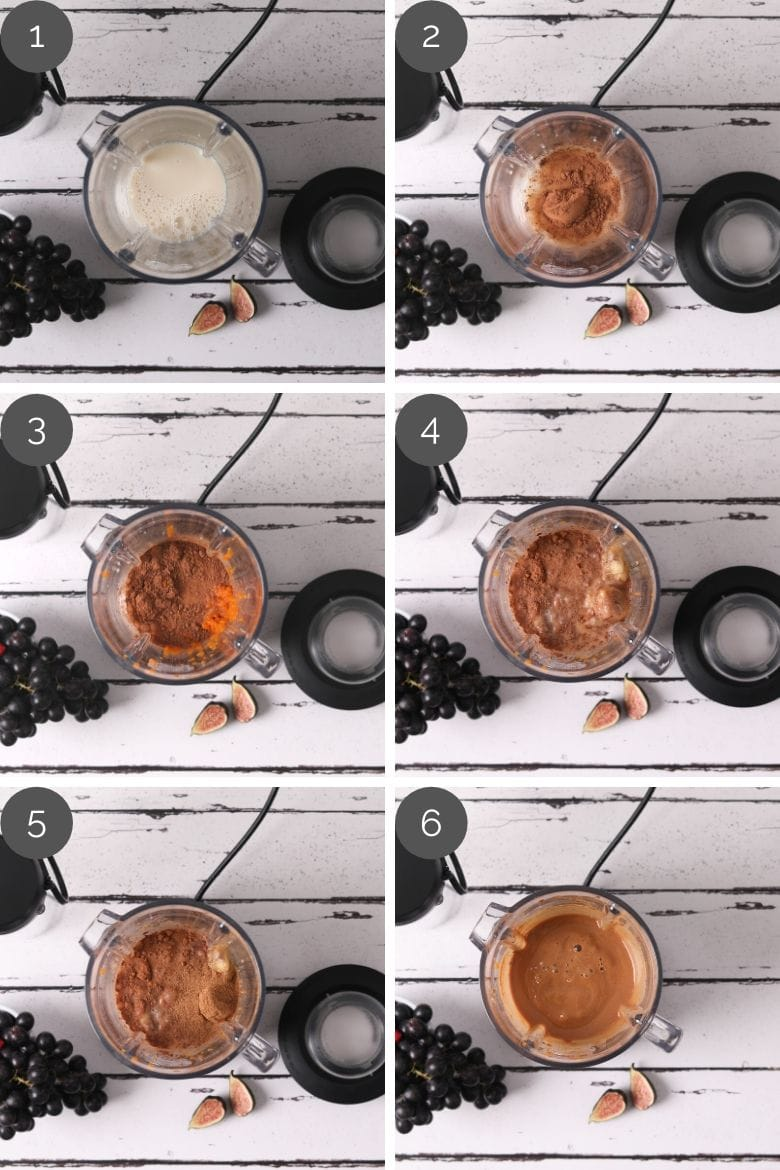 step by step preparation images of how to make chocolate and pumpkin smoothie breakfast in a high speed blender