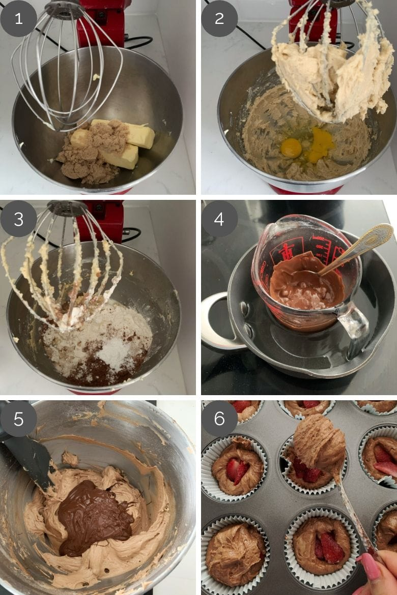 Step by step preparation images of how to make chocolate cupcakes in a stand mixer
