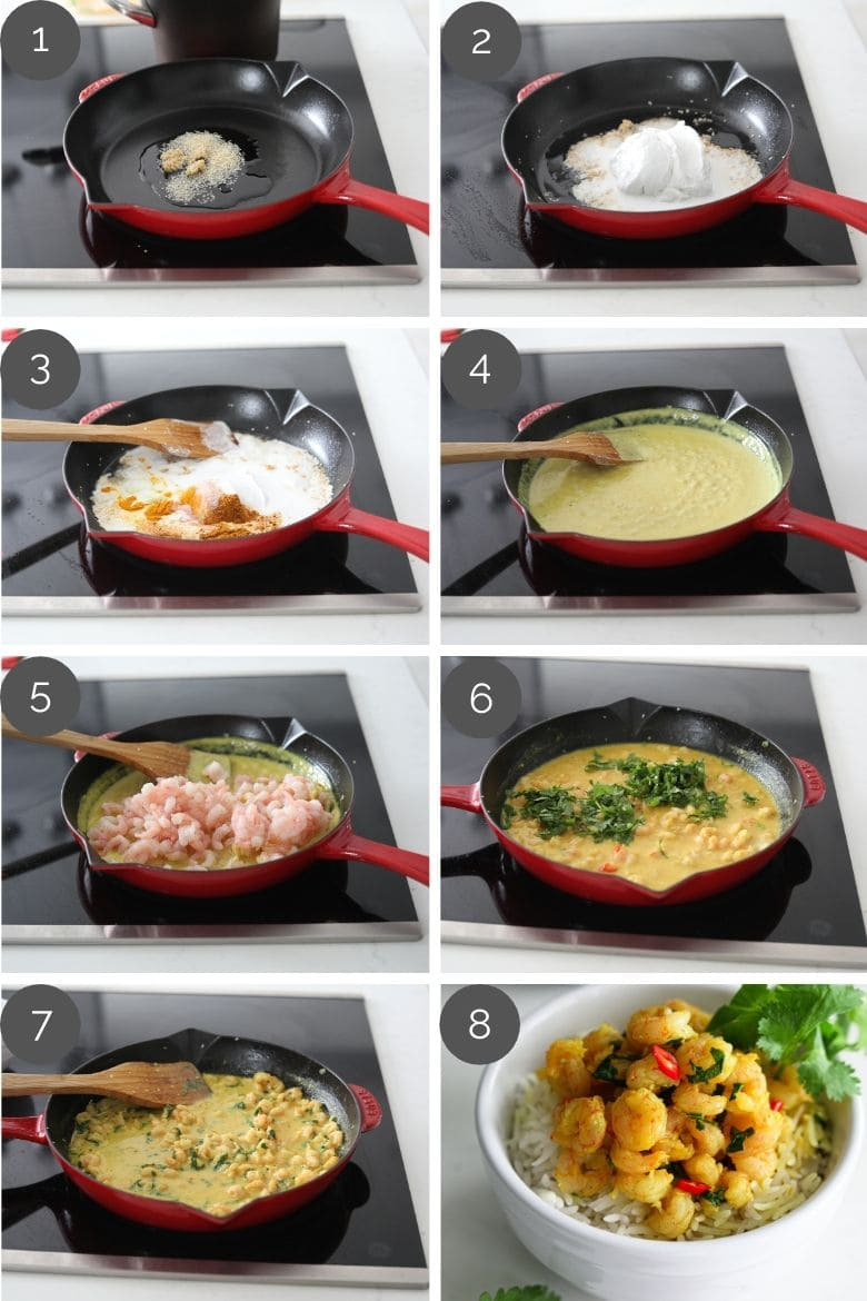 step by step preparation images of how to make coconut shrimp curry in a red pan