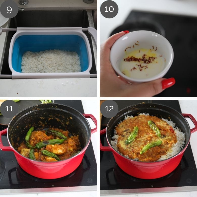 step by step preparation images of how to prep south asian fish biryani recipe on a stove top