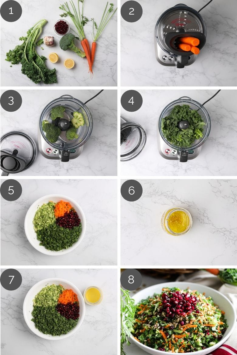 step by step preparation images of how to make an easy salad recipe in a food processor