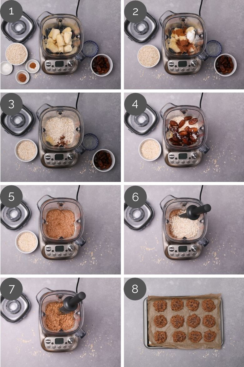step by step preparation images of how to make chocolate oatmeal cookies in a blender