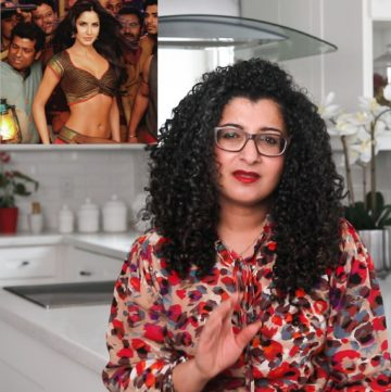 Desi~licious RD, Shahzadi sitting in her kitchen looking frustrated discussing body shaming with an image of Katrina Kaif in the background