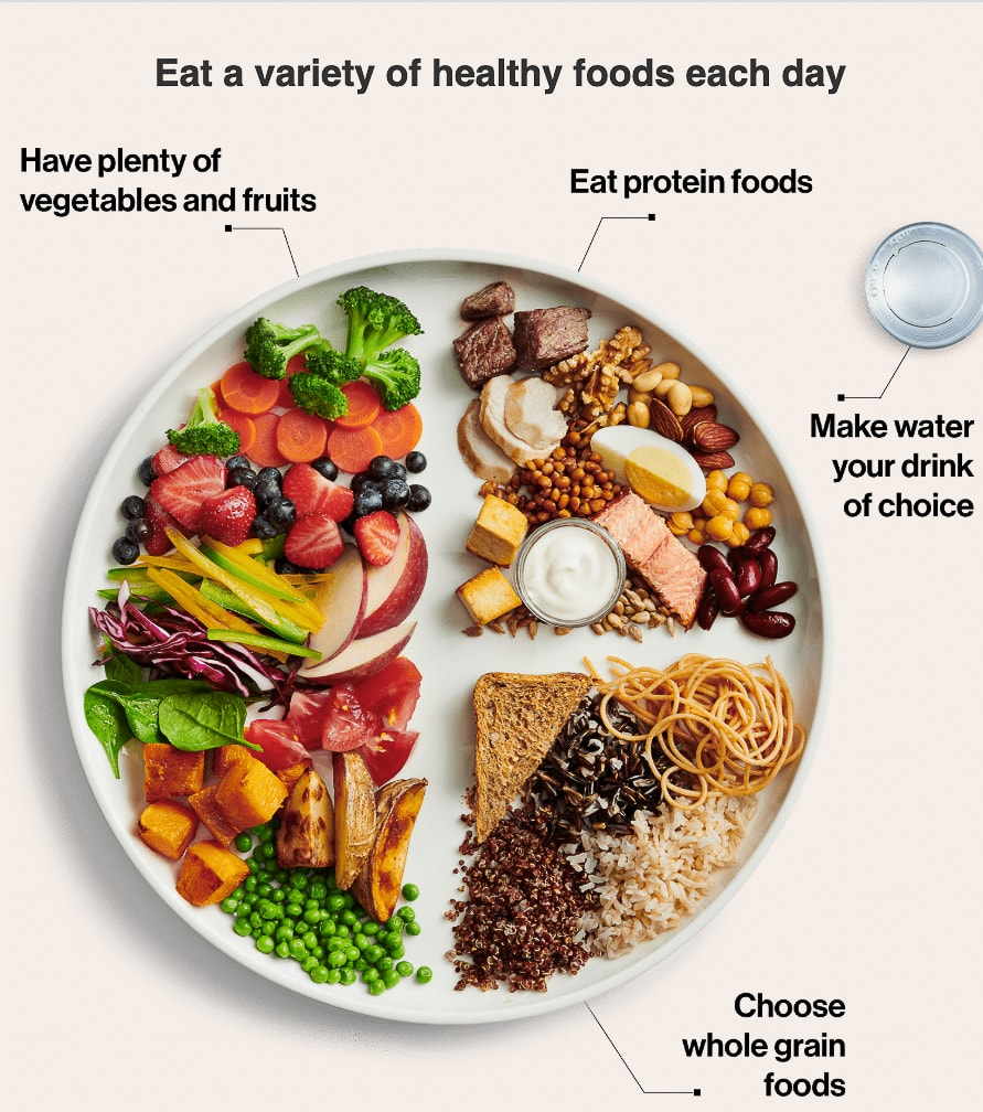 Canada's Food Guide plate with fruits and vegetables, fish, beans, meat and poultry, pasta, bread, rice and grains