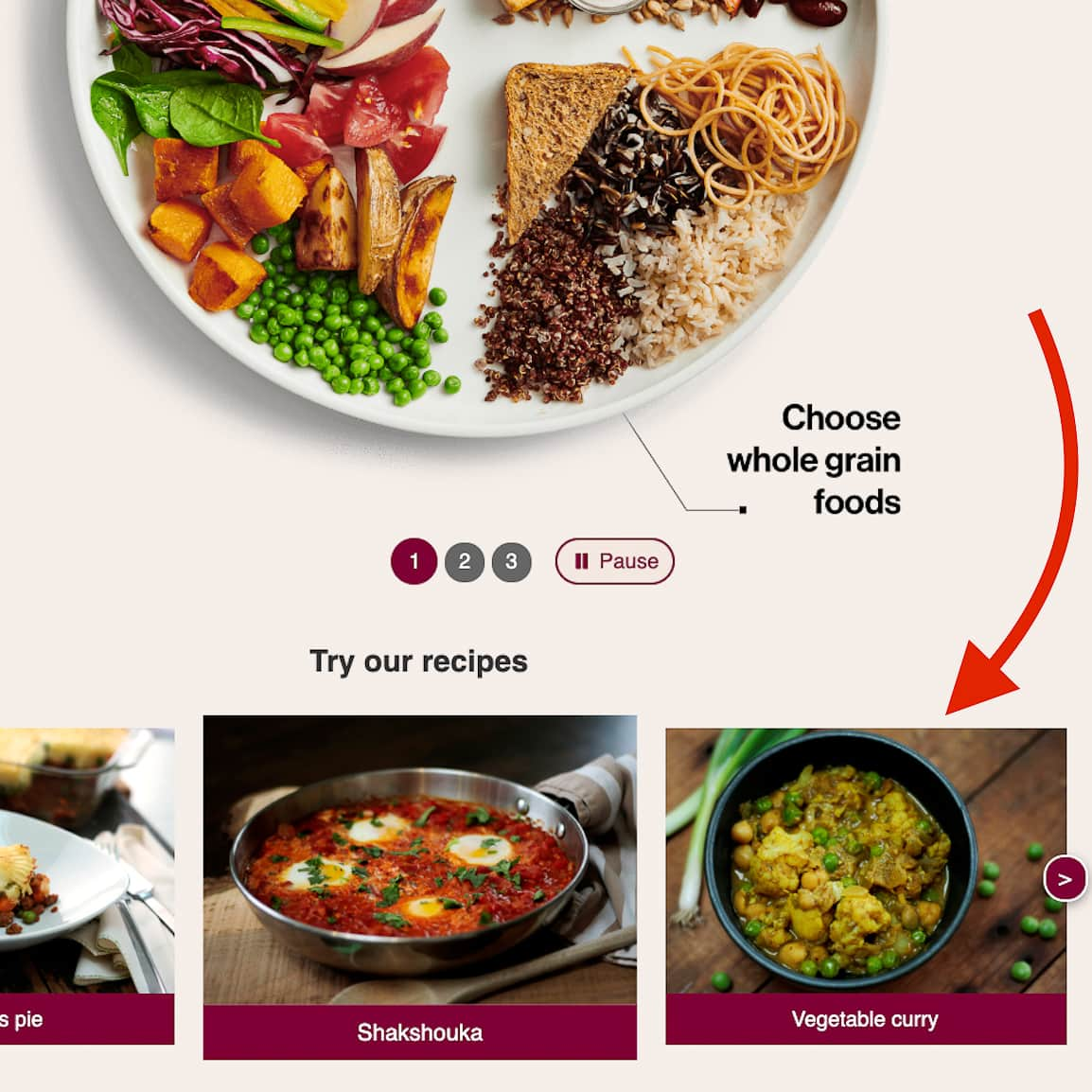 Canada's Food Guide plate with vegetables and grains with recipe images underneath