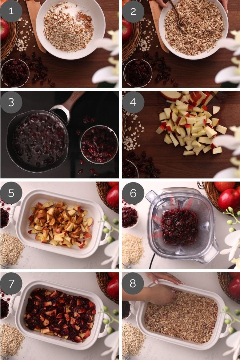 step by step preparation images of how to make cranberry apple crumble recipe