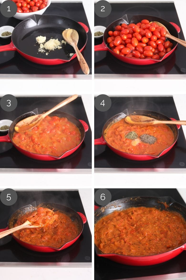 step by step preparation images of how to make the best tomato sauce recipe in a pan with sweet baby tomatoes