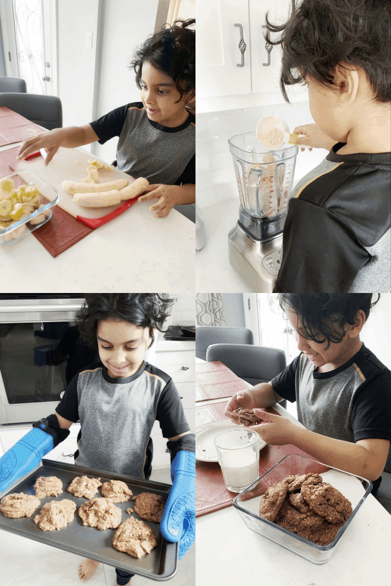 four images showing a little boy baking cookies