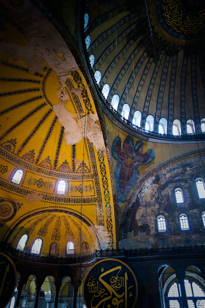 Backgrounds and textures: Hagia Sophia interior, details of ceiling, intentional artistic vignette