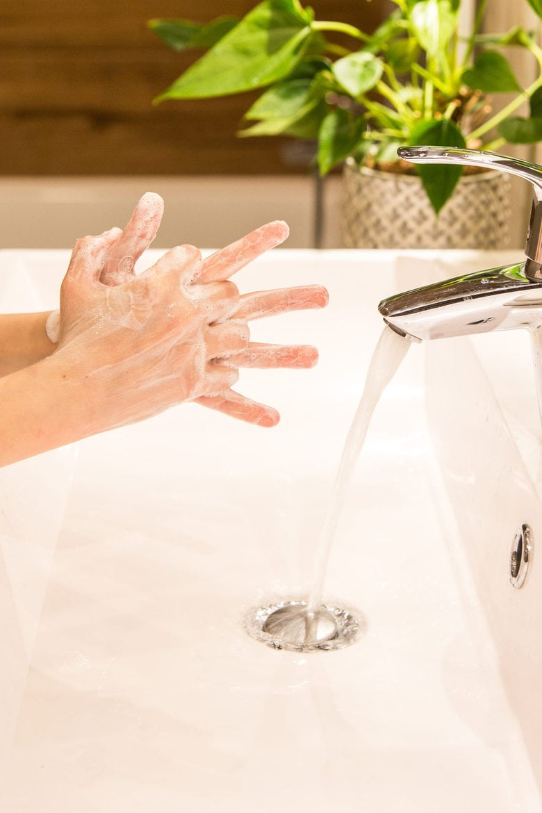 Washing of hands with soap after grocery shopping trip to be safe