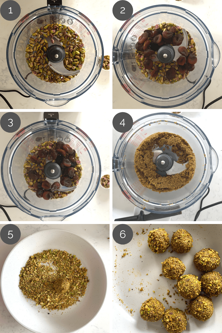 step by step images of how to make a ladoo recipe in the food processor