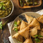 Ramadan healthy eating: Homemade Fried Indian Samosas with Mint Chutney Sauce