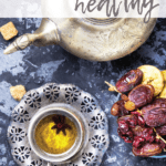 Ramadan healthy eating: symbolic oriental tea with figs, dates and oriental sweets