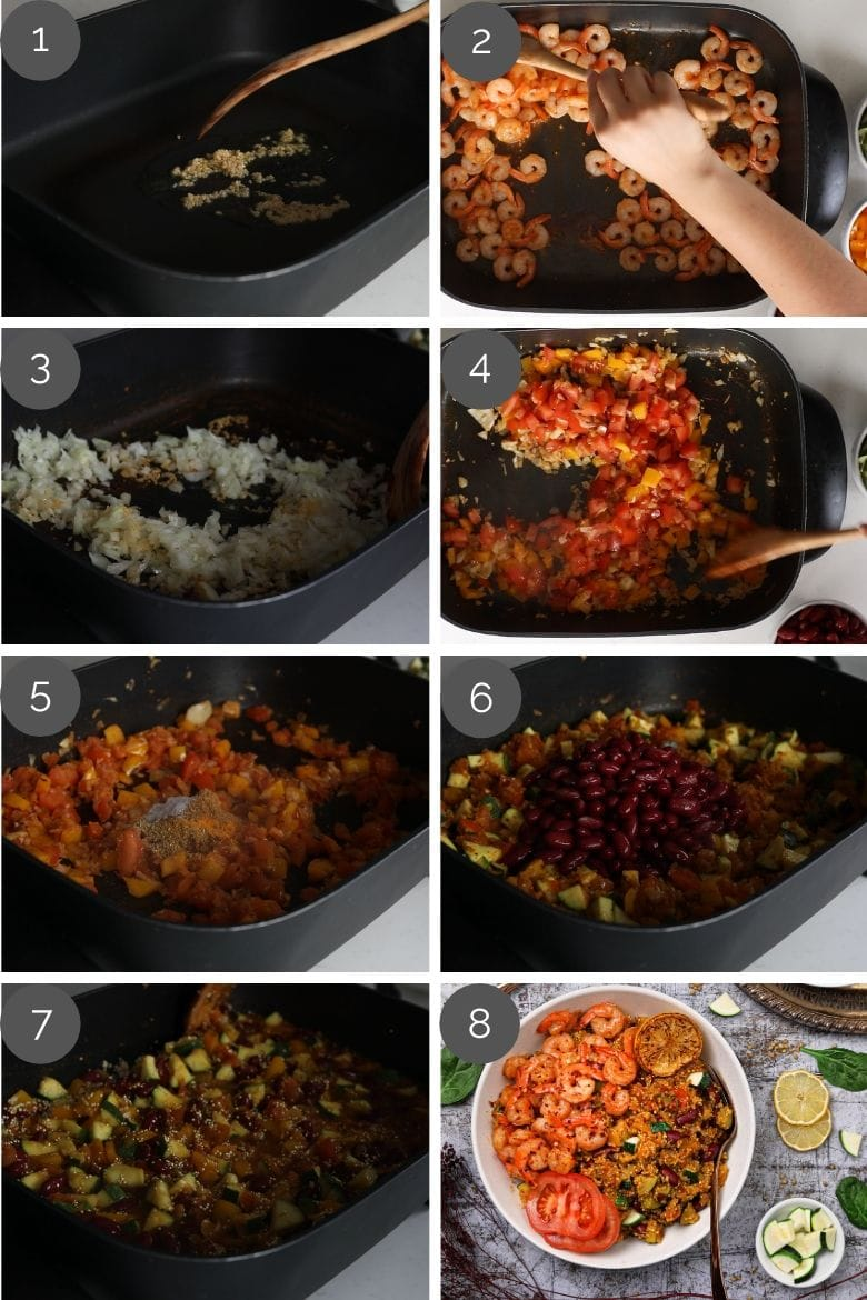 step by step preparation images of cooking vegetable quinoa garlic shrimp recipe in a skillet
