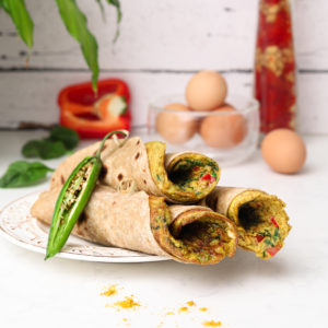 three stacked roti rolls with a desi (south asian) omelette in each