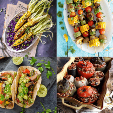 4 BBQ recipes collage: corn o the cob, vegetables kebabs, fajitas, and grilled stuffed vegetables