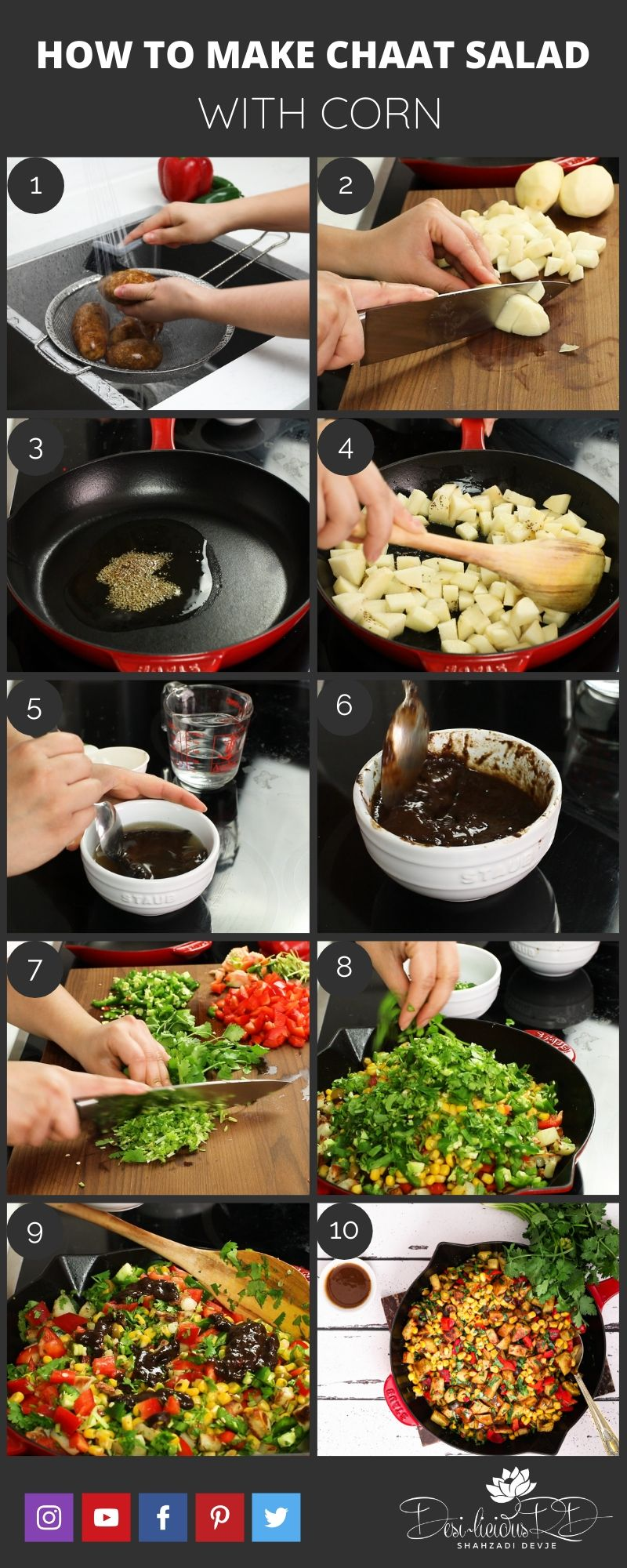 step by step prep shots of how to make Indian chaat salad recipe with corn