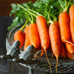 Fresh organic kitchen garden carrots on vintage plate close-up.