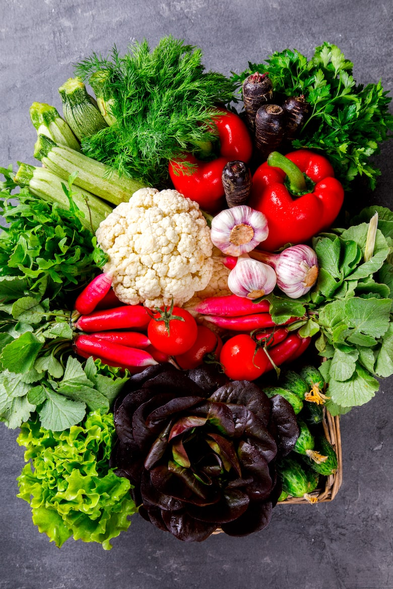 Fresh vegetable Mix and Greens in the Basket..Concept of Healthy Food.Food or Healthy diet concept.Super Food.Vegetarian.Buddha Bowl.Copy space for Text. selective focus.
