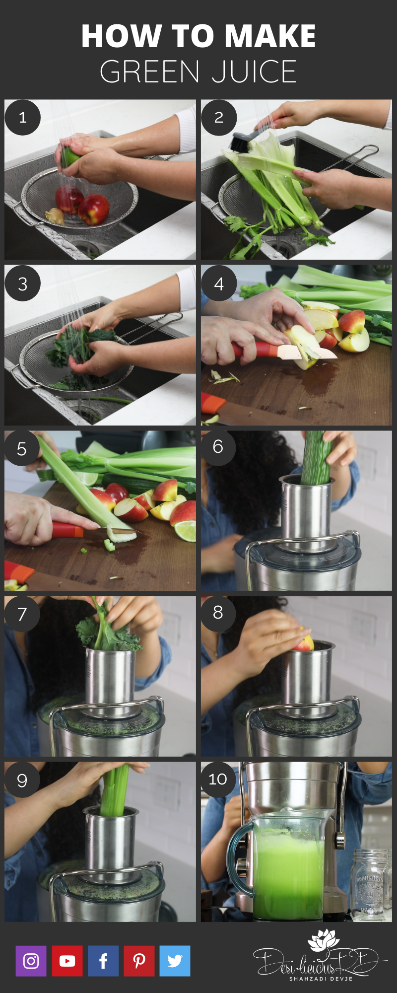 step by by step preparation shots of how to make a green juice in a juicer at home