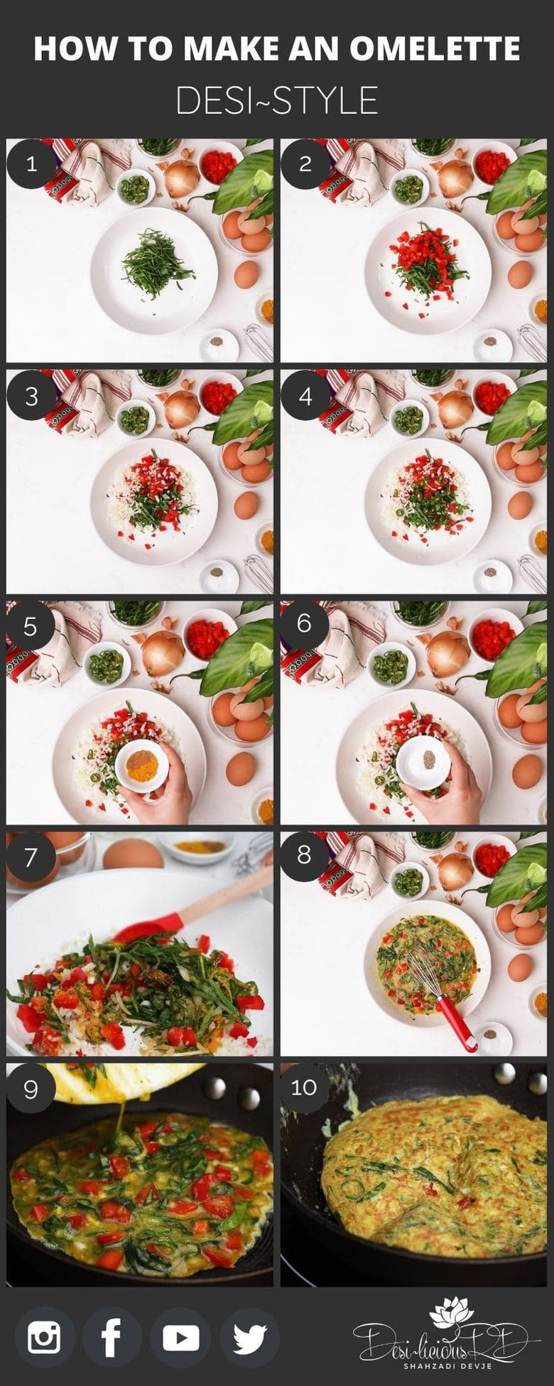 step by step preparation shots of how to make an omelette - desi~style in a pan