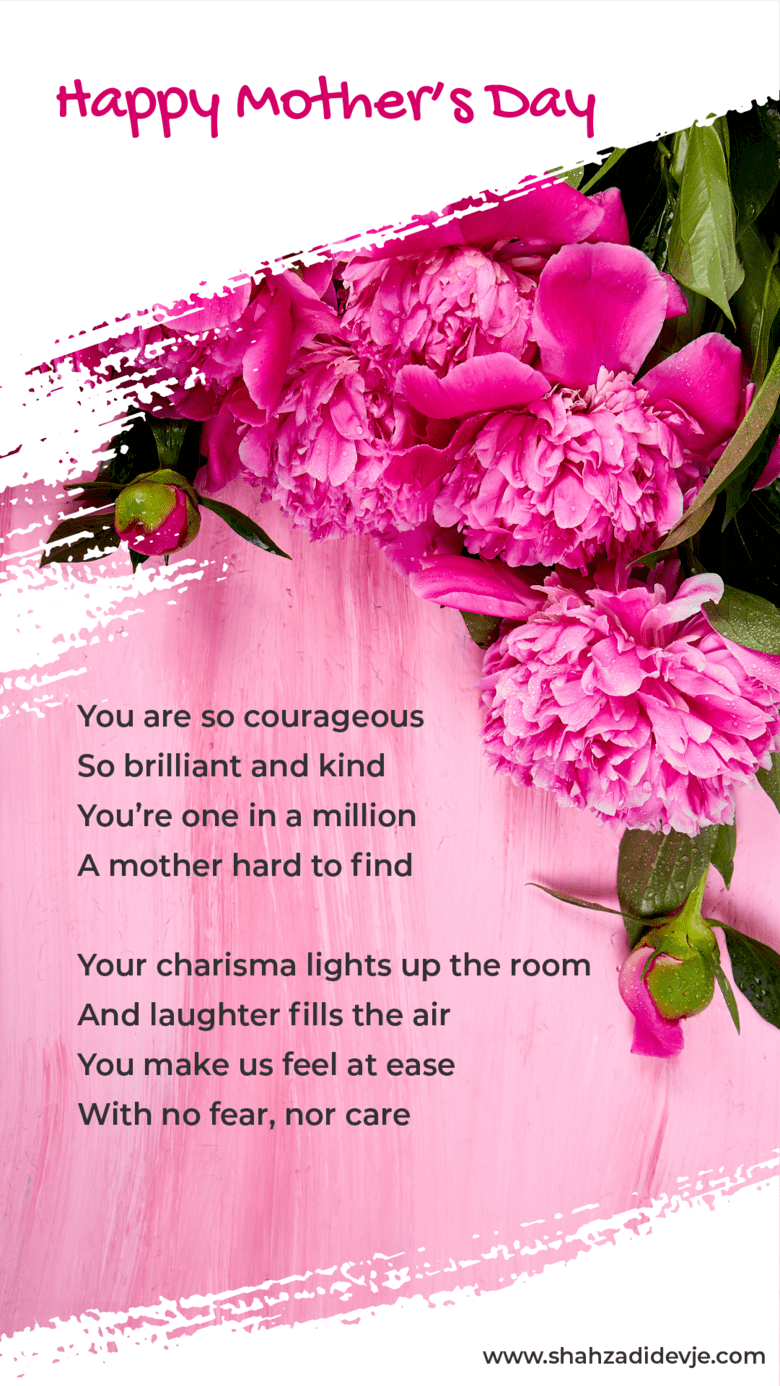 Mother's Day 2020 poem on a pink flowers flat lay