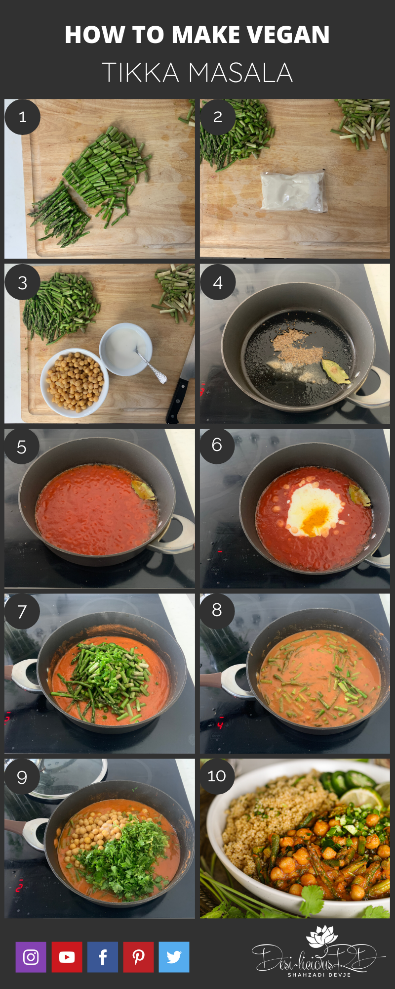 step by step preparation shots of vegan tikka masala recipe cooked in a pan on stovetop