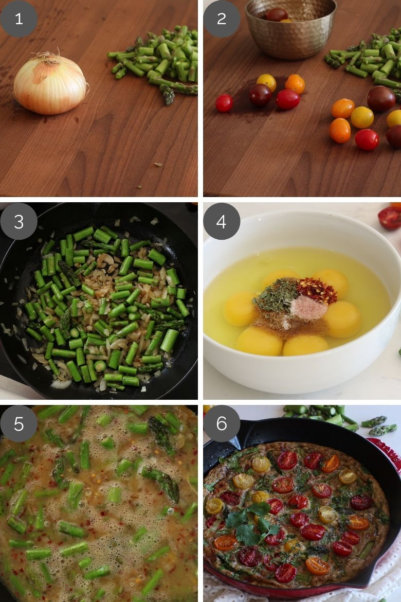 Step by step preparation shots of tomato asparagus frittata