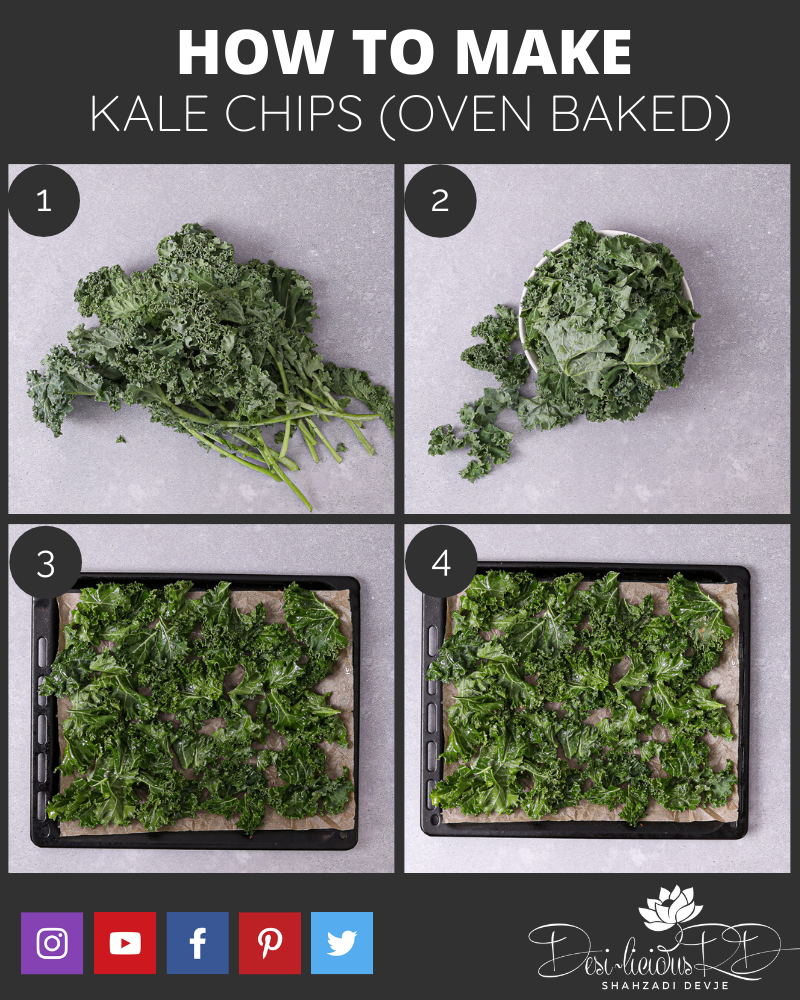 step by by step preparation shots of how to make kale chips oven baked