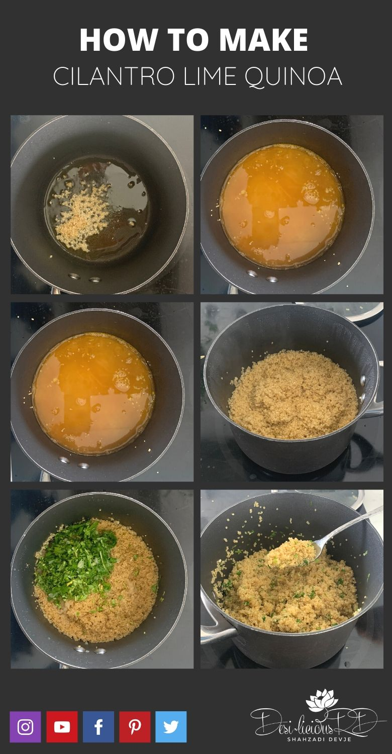 step by step preparation shots of how to make cilantro lime quinoa easy on stovetop.